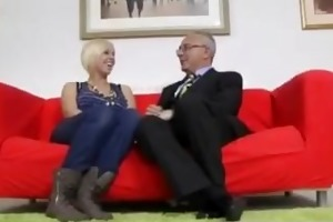 blonde in nylons and old guy