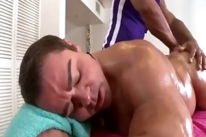 muscled dad s garb as built masseur strokes