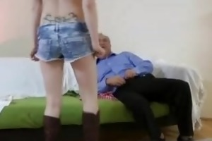 golden-haired cowgirl screwed by old fellow