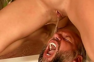 grandpapa and juvenile girl pissing and fucking