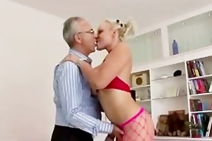 breasty golden-haired in nylons acquires off