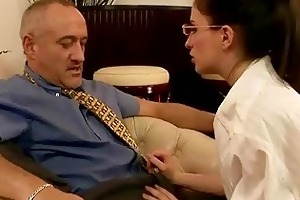youthful secretary fucking her old boss