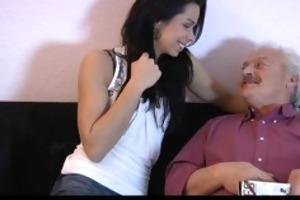 old man copulates beautiful lady on xmas ht