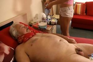 sexy, youthful nurse copulates horny, sick grandpa