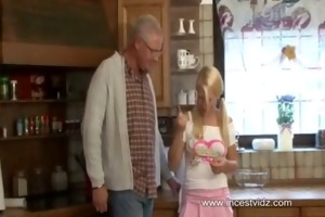 lascivious old dad and blond daughter