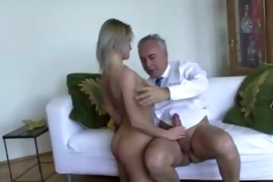 old boy fingers and copulates younger blonde in