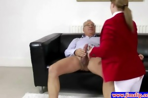 stylish amateur plowed by old fellow