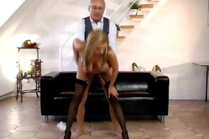 nylons sweetheart fucked by elderly gentleman
