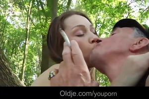 smoking grandpapa bonks cute teeny in the forest