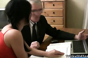 beautiful youthful student enticed by an old fart