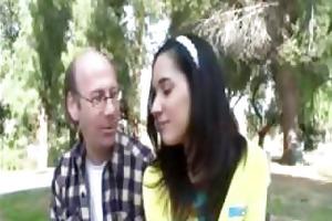 cute youthful dark brown flirts with a grand-dad