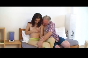 petite tittted angel receives fucked by old man