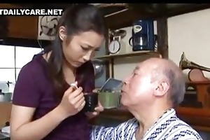 old and youthful japanese couple