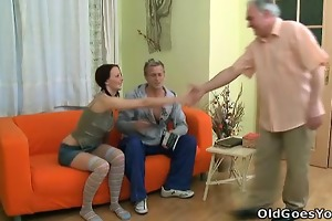 youthful babe screams out as an old man gives her