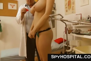 chesty brunette hair doctor check-up voyeur movie