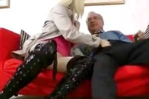 old fellow bonks sexy blond in boots