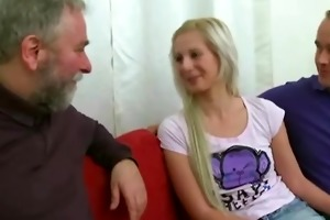 golden-haired angel drilled by old chap when her