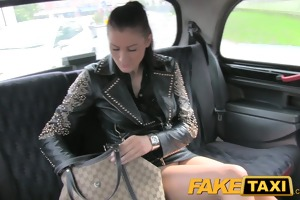 faketaxi brunette hair club hostess in money