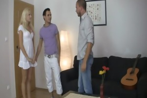 golden-haired wench cheats her bf with his brother