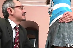 lustful old tutor giving lessons