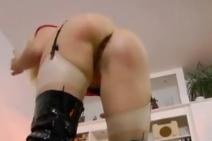 breasty golden-haired jerking off old stud