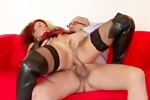 redhead in leather boots drilled by old boy